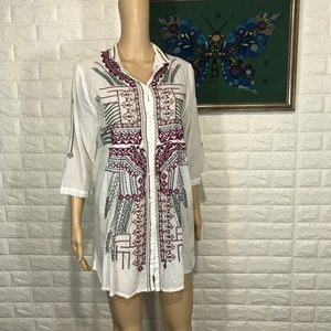 BIYA Johnny Was Embroidered Button down Tunic Top